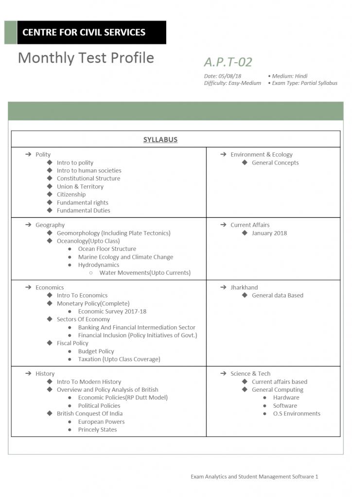 Test A.P.T/02: [JB19]   upsc coaching test